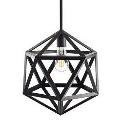 Vizerta Industrial Pendant Light | Black Vintage Modern Hanging Light with LED Bulb LL-P815-5BLK
