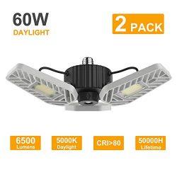 LZHOME 2-Pack LED Garage Lights, 6500Lumens Adjustable Trilights Garage Ceiling Light,60W LED Ga ...