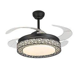 Fandian 42Inch Ceiling Fans with Light 4 Retractable Blades LED Ceiling Fan 3 Color Change 3 Spe ...