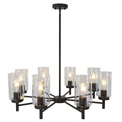 VINLUZ Contemporary Chandeliers Large 8 Lights Oil Rubbed Bronze Modern Lighting Fixtures Hangin ...