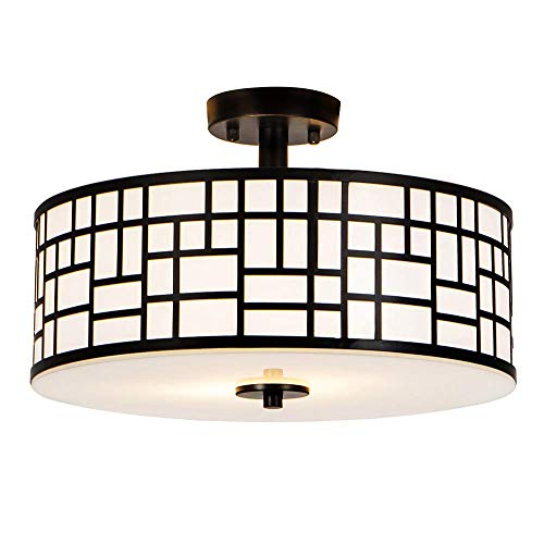 SOTTAE Elegant 16 inch 2 Lights Glass Diffuser Black Livingroom Bedroom Flush Mount Ceiling Ligh ...