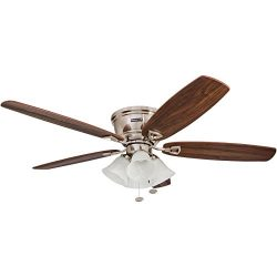 "Honeywell 50182 Quick-2-Hang Hugger Ceiling Fan, 52"" Dimmable LED White Swirled Marble Fixtures, ..."