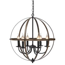 "KingSo 6 Light Chandelier 23.62"" Rustic Pendant Light Oil Rubbed Bronze Finish Wood Textur ..."
