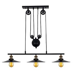 Industrial 3-Light Pulley Island Pendant Light,Adjustable Kitchen Island Light Fixture for Indo ...