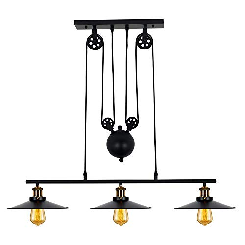 Industrial 3-Light Pulley Island Pendant Light,Adjustable