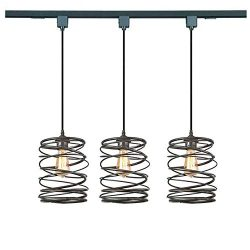 KIVEN 3 Pack H-Track Lighting Kitchen Pendant Light – Black Cage Metal Shade Industrial Ha ...