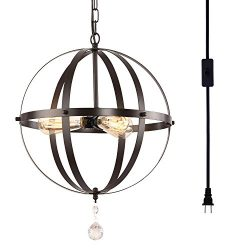 HMVPL Plug-in Industrial 3 Light Globe Pendant with 16.4 Ft Hanging Cord and Toggle Switch, Oil  ...