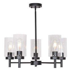 VINLUZ 5 Light Contemporary Chandeliers Black Modern Lighting Fixtures Hanging,Industrial Vintag ...