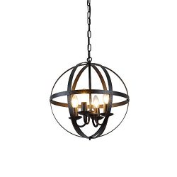 Create for Life 4-Light Modern Rustic Sphere Chandelier,Industrial Vintage Retro Pendant Light,  ...