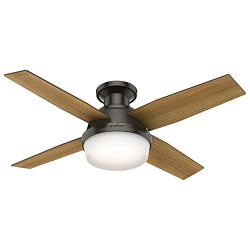 Low Profile Noble Bronze Dempsey Ceiling Fan With Light & Remote, 44 Inch