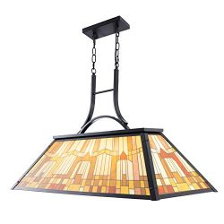 Wellmet 3-Light Billiards Pool Table Light Pendant with Tiffany-Style Printed Shade for Game Roo ...