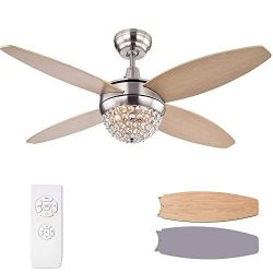 Chandelier Crystals Fans, Remote Fan Remote Control Wood Chandelier Brown and Silver Grey Ceilin ...