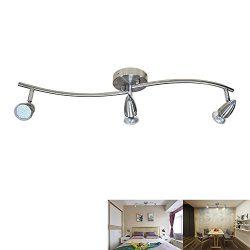 DLLT Modern LED Ceiling Spot Lights 3-Light Track Lighting Kit, Flushmount or Wall Light Fixture ...
