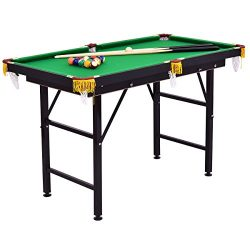Costzon 47″ Folding Billiard Table, Pool Game Table Includes Cues, Triangle, Chalk, Brush  ...