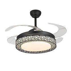 KALRI Dimmable 42 Inch Ceiling Fans with LED Lights and 4 Retractable Blades Modern Invisible Ch ...