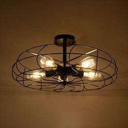 Beyonds Industrial Vintage Chandelier Mounted Metal Ceiling Lamp, 18.1″ x 10.2″, Mod ...