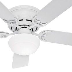 Hunter Fan 52in White Finish Low Profile Ceiling Fan Cased White Glass Light Kit (Renewed) (White)