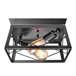 HMVPL Industrial Pendant Lighting Fixtures, Farmhouse Flush Mount Close to Ceiling Light Mini Ce ...