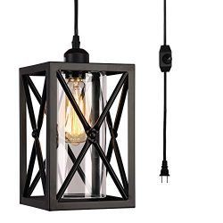 HMVPL Antique Glass Pendent Ceiling Lights with 16.4 Ft Plug in Cord and On/Off Dimmer Switch, U ...