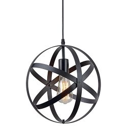 ZZ Joakoah Vintage Industrial Spherical Pendant Light, Metal Globe Ceiling Light Displays Change ...
