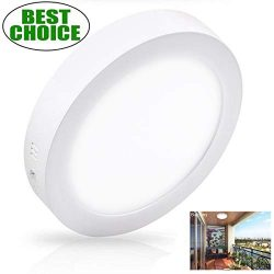 Surface Mounted Ceiling Lights 18W LED Flush Mount Ceiling Light Round 8.86″ 1400LM Replac ...