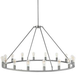 Sonoro Large 50 inch Round Dining Room Industrial Chandelier | Silver Kitchen Island Light Fixtu ...