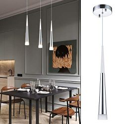 Modern Kitchen Island Pendant Lighting, Adjustable LED Cone Pendant Light with Silver Plating Ni ...