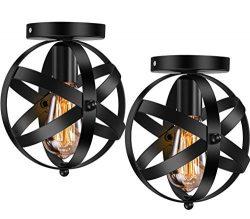 Industrial Ceiling Light E26 E27 Vintage Globe Caged Semi-Flush Mount Ceiling Fixture for Hallwa ...