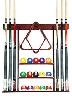 Cue Rack Only – 6 Pool Cue – Billiard Stick Wall Rack Made of Wood Choose Mahogany,  ...