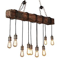 Wood Chandelier Linear Industrial Pendant Lighting Vintage Ceiling Light Fixture 10 Light for Po ...