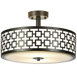 SOTTAE Luxurious 2 Lights Glass Diffuser Black Finish Bedroom Living Room Ceiling Light,Ceiling  ...
