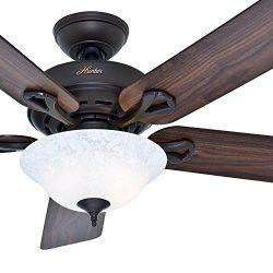Hunter Fan 52 inch New Bronze Ceiling Fan with a Snowflake Scavo Light Kit, 5 Blade (Renewed)