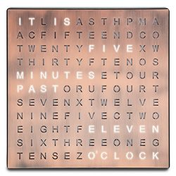 Sharper Image Light Up Electronic Word Clock, Copper Finish with LED Light Display, USB Cord and ...