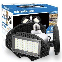 LED Garage Lights, Deformable LED Garage Ceiling Lights 7200 Lumens, CRI 80 Led Shop Lights for  ...
