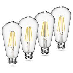 Vintage LED Edison Bulb Dimmable 6W 4000K Neutral White 660 Lumen Led Filament Light Bulb 60W In ...