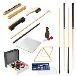 Pool Table Accessory 32 Piece Kit- Billiards Balls, Cues, Stick Repair, Roman Rack, Table Brush, ...