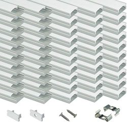 Muzata LED Channel System with Milky White Cover Lens,Silver Aluminum Extrusion Profile Housing  ...