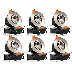 TORCHSTAR 6-Pack 3″ Gimbal LED Dimmable Recessed Light with J-Box, 7W (50W Eqv.) 500lm, Airtight ...