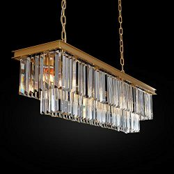 Meelighting L39.4″ W10.2″ Gold Rectangle Modern Crystal Chandeliers Lighting Pendant ...