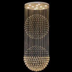SEFINN FOUR K9 Crystal Flush Mount Raindrop Sphere Ceiling Fixture Downright Light Chandelier, 8 ...