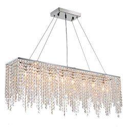 7PM Modern Linear Rectangular Island Dining Room Crystal Chandelier Lighting Fixture (Large L40& ...