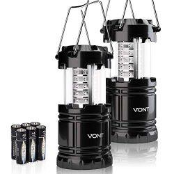 Vont 2 Pack LED Camping Lantern, Super Bright Portable Lanterns, Must Have During Hurricanes, Em ...