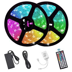 Flykul LED Strip Lights, DC12V 33ft/10M SMD5050 300Leds Waterproof LED Light Strip Kit with Flex ...
