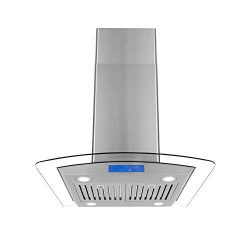 Cosmo COS-668ICS750 30-in Island Range Hood 900-CFM, Ceiling Mount Chimney-Style Over Stove Vent ...
