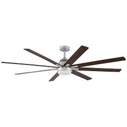 Rivet Modern Remote Control DC Motor Ceiling Fan with 18W Integrated LED Light – 72 x 72 x ...
