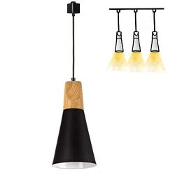 H-Type Track Mount Light Modern Wood Pendant Lights Kitchen Lighting Scandinavian Light Fixture  ...