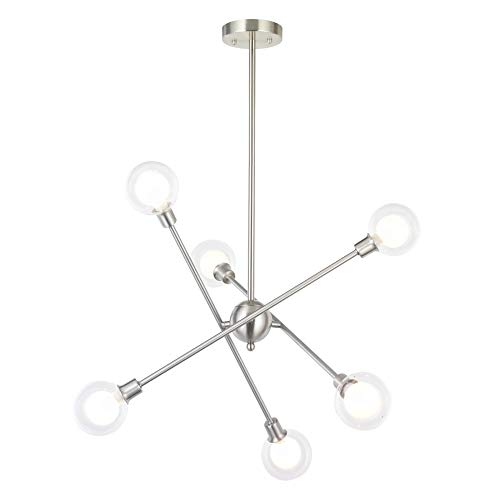VINLUZ Contemporary Sputnik Chandelier Brushed Nickel Lighting 6 Bulbs Included 6 Lights Ceiling ...