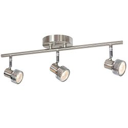 MELUCEE 3 Heads Spotlight Ceiling Fixture Brushed Nickel 50W GU10 Base Bulbs Included, Kitchen T ...