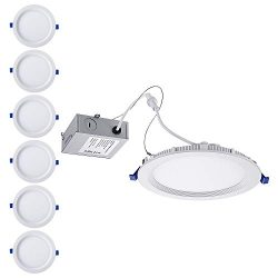 TORCHSTAR 6 Inch Slim Recessed Lighting with Junction Box, Eye-Caring, CRI 90+, Dimmable 12W 100 ...