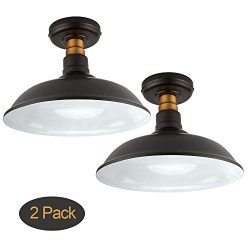 Set of 2 Vintage Semi Flush Mount Ceiling Light, Oil Rubbed Bronze/Antique Brass Finish,Industri ...